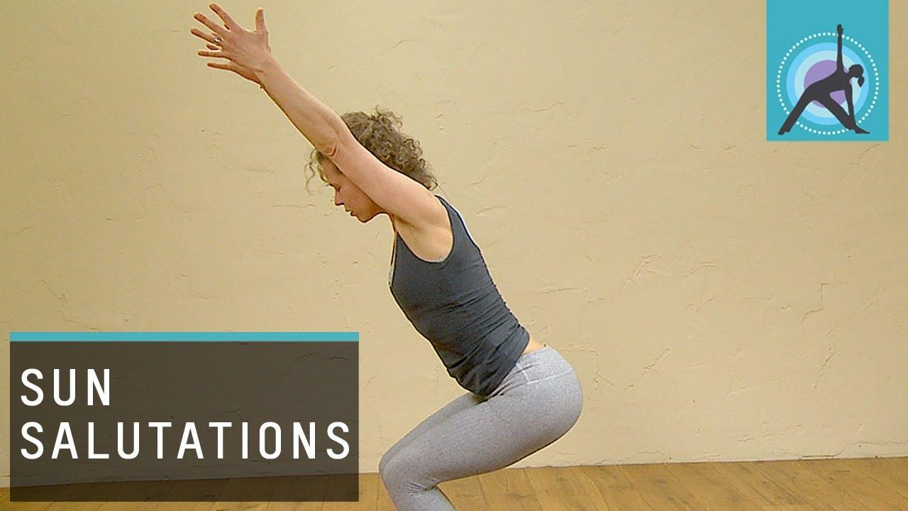 Three Variations Of A Sun Salutation Or Surya Namaskar Yoga