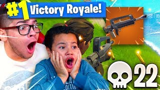 *NEW* WEAPON IS SO OVERPOWERED IT MIGHT GET ME BANNED! 9 YEAR OLD BROTHER RAGED FORTNITE BR 22 KILLS