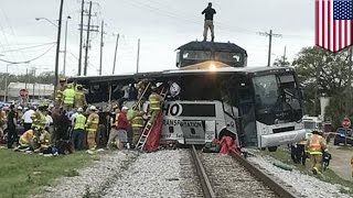 Biloxi train crash: Four dead after train crashes into charter bus at railway crossing - TomoNews