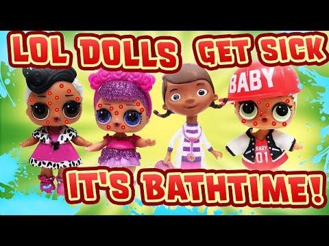 LOL Dolls Get Sick! Doc McStuffins helps w Slime & a Bubble Bath! Sugar Queen, Dollface & MC Swag!
