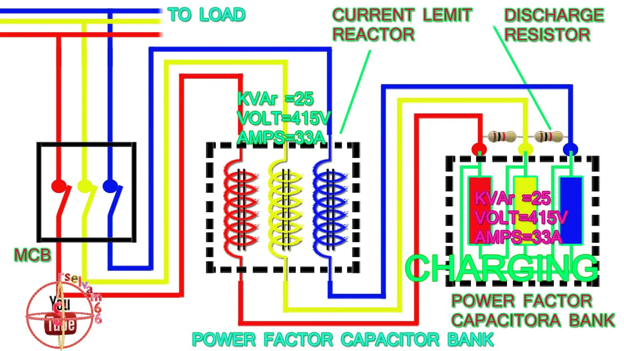 power factor capacitor bank connection diagram how to connect three rh youtube com Electric Motor Capacitor Wiring Diagram 5 Wire Capacitor Wiring Diagram