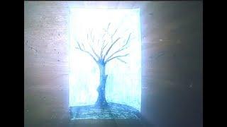 لللمبتدئين تعلم كيف ترسم شجرة بخلفية القمر How to draw a tree with a moon background
