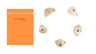 Video: WOODEN JUGGIES - 5x Small Bolt on Juggy climbing holds