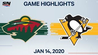 NHL Highlights | Wild vs Penguins - Jan. 14, 2020