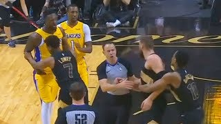 Julius Randle  Jonas Valanciunas FightScuffle Lakers vs Raptors January 28 2018
