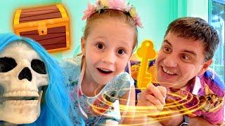 Nastya e pai desafio misterioso em casa, desafios engraçados para crianças