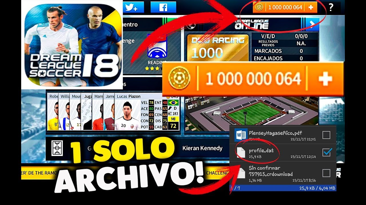 Hack Monedas Infinitas Para Dream League Soccer 2018 Solo Con Un Archivo Youtube