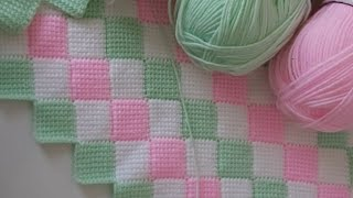 Tunus işi zikzakli bebek battaniyesi how to crochet tunisian baby blanket  tunusisi crochet