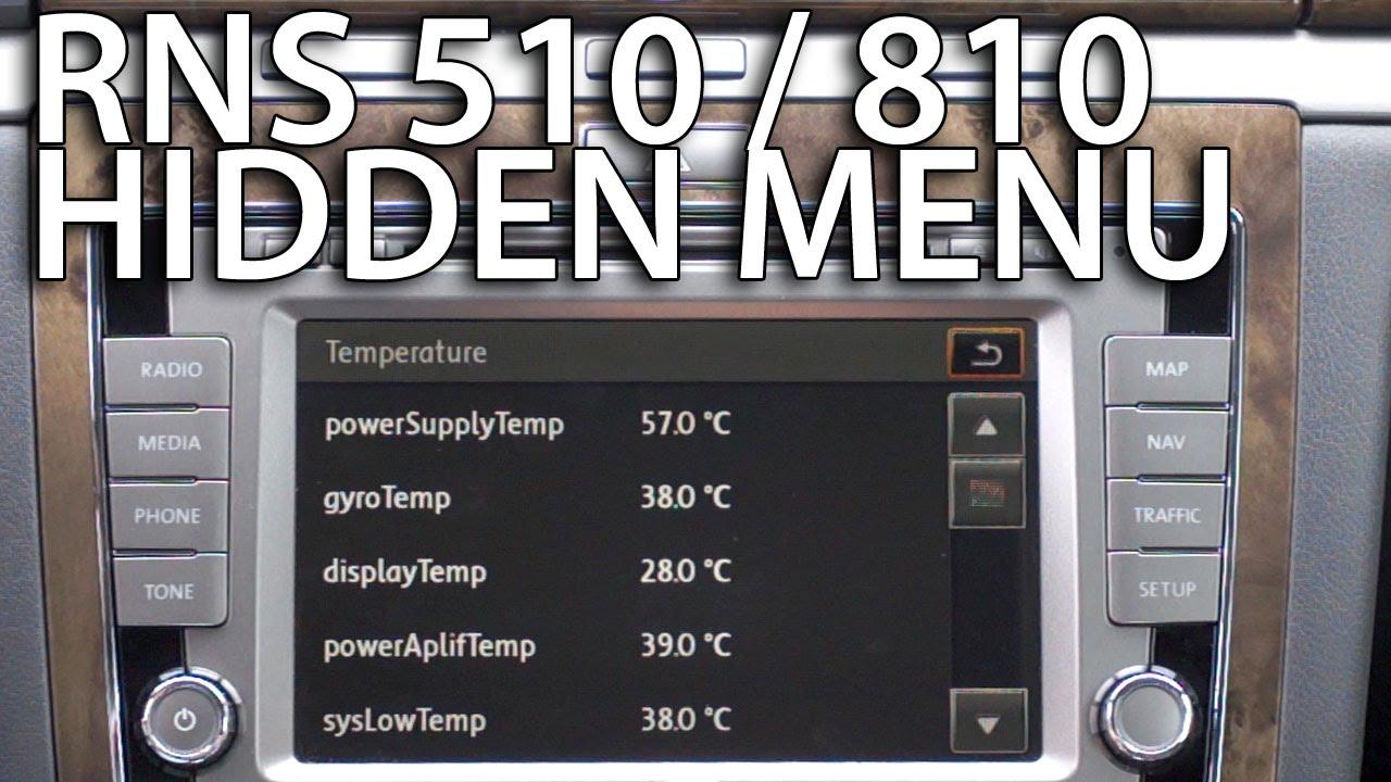 Hidden menu RNS 510 & RNS 810 - mr-fix info