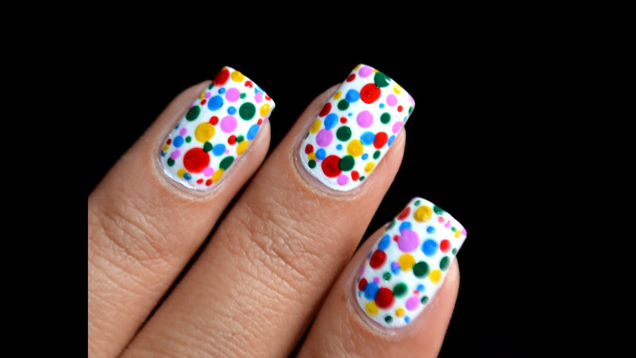 Color spots colorful polka dots nail art designs youtube prinsesfo Image collections