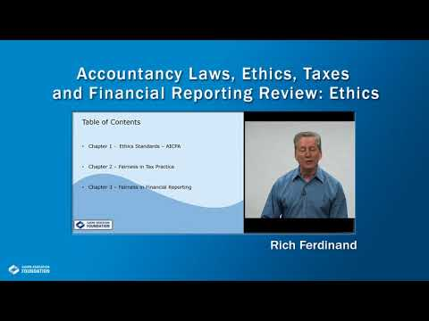 Accountancy Laws, Ethics, Taxes and Financial Reporting Review: Ethics