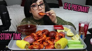 SPICY SHRIMP, CORN, POTATOES, BLOVES SAUCE | STORY TIME, 15 AND PREGNANT | EATING SHOW