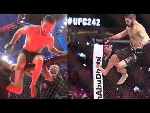 Хабиб Нурмагомедов снова выпрыгнул из клетки на UFC 242