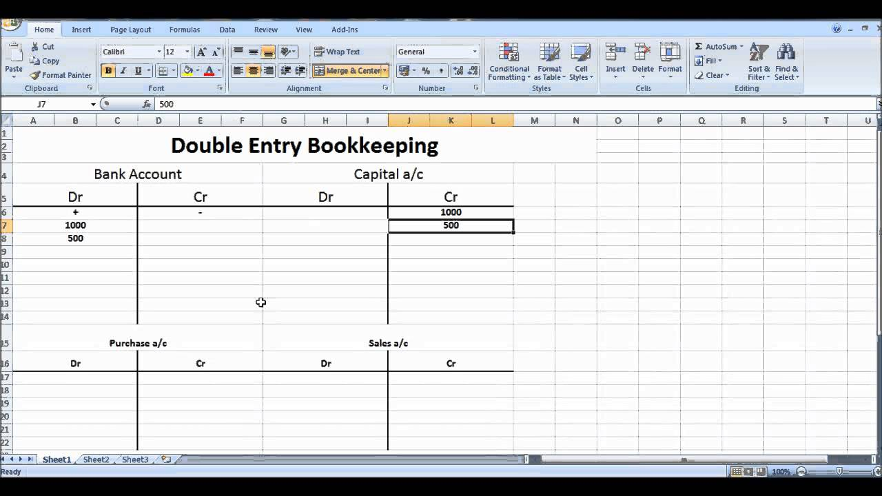 Free Online Bookkeeping Course #7 - Double Entry Bookkeeping System ...