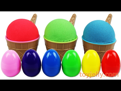 Thumbnail: Learn Colors Kinetic Sand Surprise Toys Play Doh Slime Clay Ice Cream Cup Surprise Nursery Rhymes
