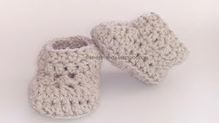 Repeat youtube video Patucos de ganchillo básicos, fáciles y rápidos. Easy crochet baby booties. Tutorial paso a paso.