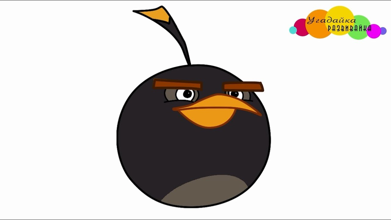 Desenho Angry Birds Bomb Para Colorir: How To Draw Black Bird Bomb From Angry Birds