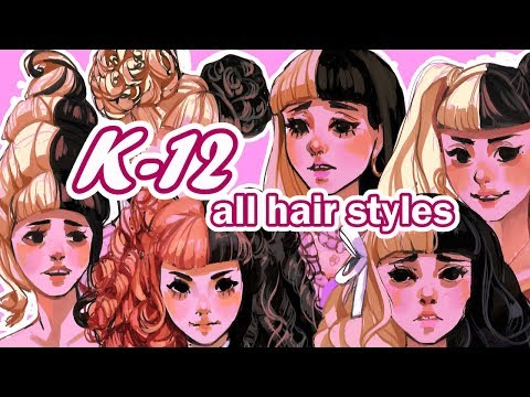 I tried to draw every hairstyle in Melanie Martinez's K-12 thumbnail