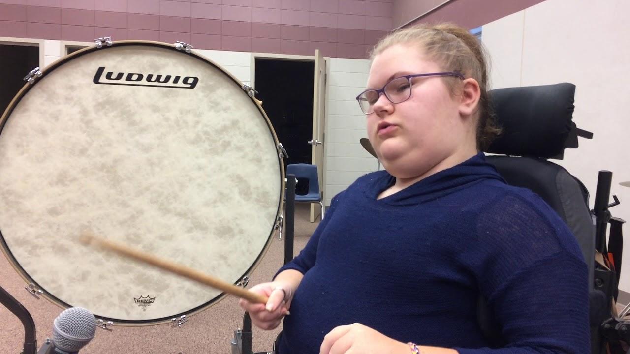Kennedi Vondrak, of Kingsley-Pierson Middle School, shows off Drum Sparx