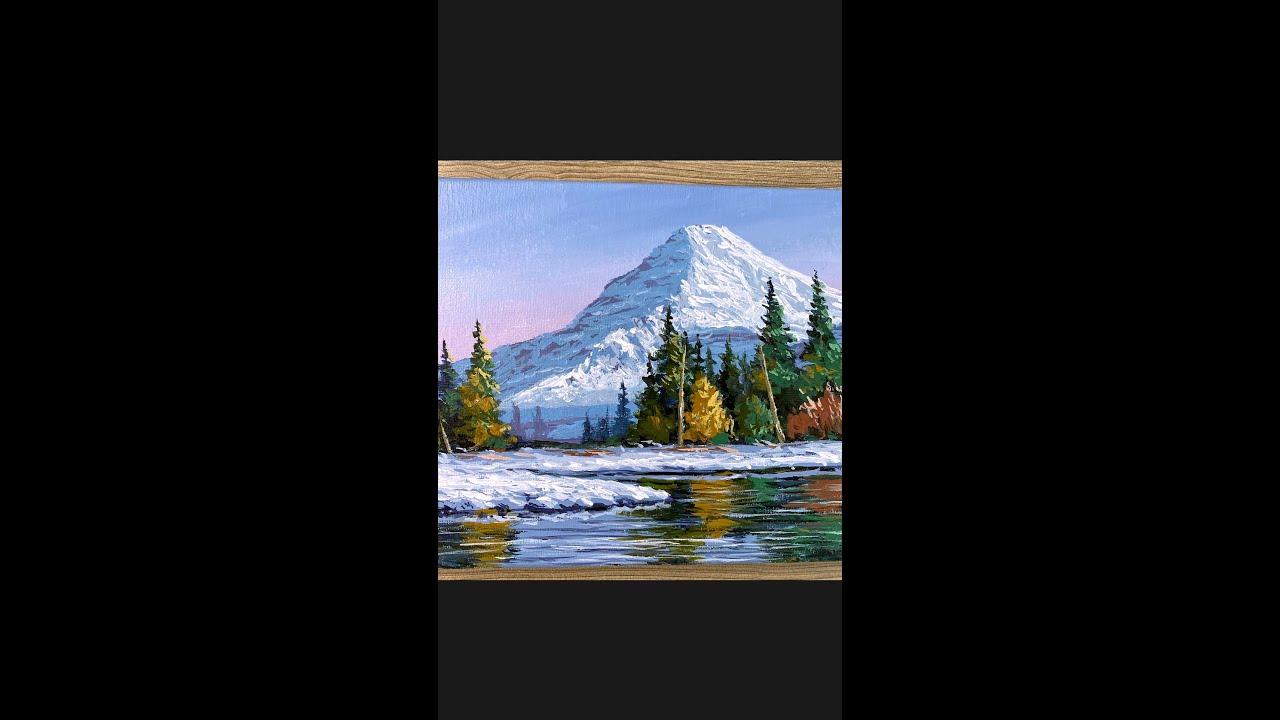 Acrylic Painting Time-lapse ( Winter Reflection Landscape) #shorts