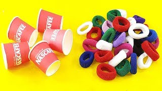 Amazing creative idea Out of Paper cups  & Hair rubber bands   DIY HOME DECO   DIY art and craft