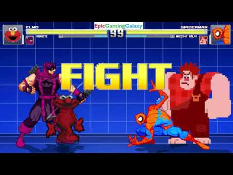 Spider-Man And Wreck-It Ralph VS Elmo And Hawkeye In A MUGEN Match / Battle / Fight