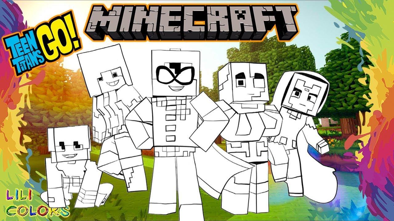 Minecraft Os Jovens Titas Em Acao Desenho De Pintar Para Crianca