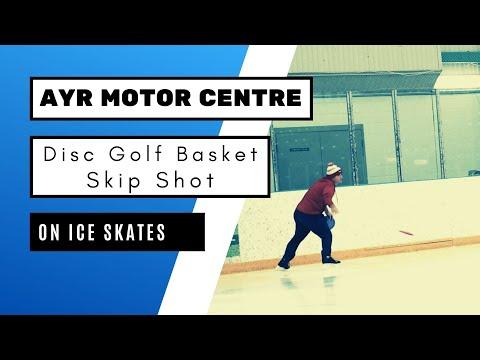 Disc Golf Basket Skip Shot on Ice Skates