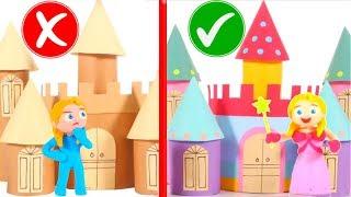 CARDBOARD CASTLE VS MAGIC CASTLE  PLAY DOH CARTOONS FOR KIDS