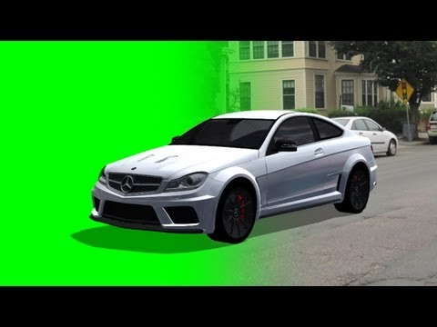 Mercedes-Benz C63 AMG drive on green screen - different views - free Car green screen
