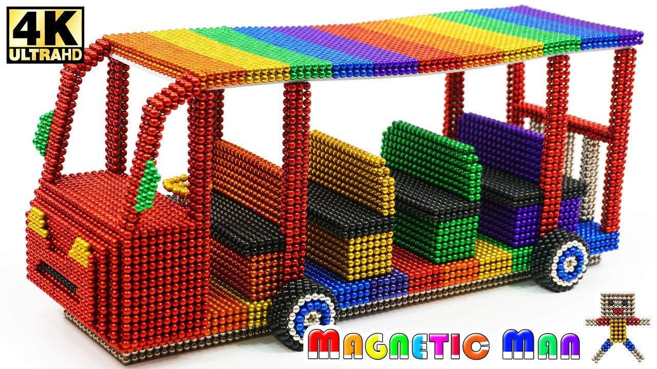 DIY - How To Make Electric Tram with Magnetic Balls Satisfaction 100% (ASMR) | Magnetic Man 4K