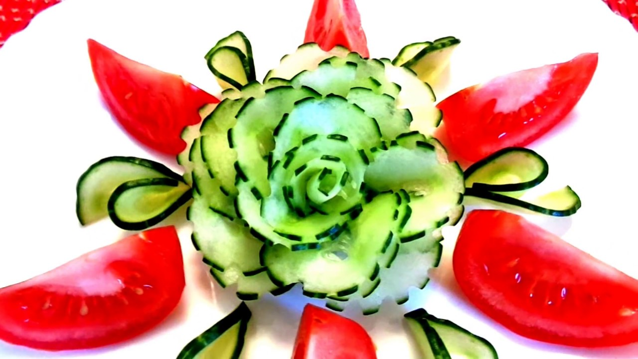 Vegetable Carving With Tomato HOW TO MAKE CUC...