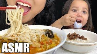 ASMR SPICY KOREAN SEAFOOD NOODLE *JJAMPPONG* + MONGOLIAN BEEF MUKBANG (Eating Sounds) | ASMR Phan