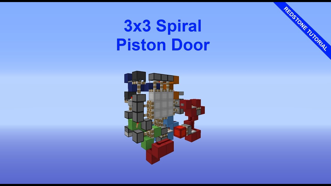 Minecraft 3x3 spiral piston door 1 8 redstone for Porte 3x3 minecraft