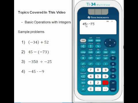 Basic Operations with integers on the TI-34 Multiview - YouTube
