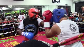 FLOYD MAYWEATHER DESTROYS SPARRING PARTNERS 8/26/15 HoopJab