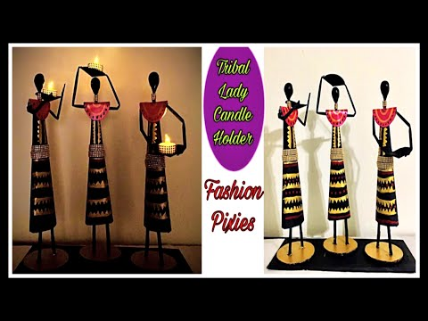 How to make tribal lady candle holder/home decorating ideas handmade /plaster of Paris craft ideas