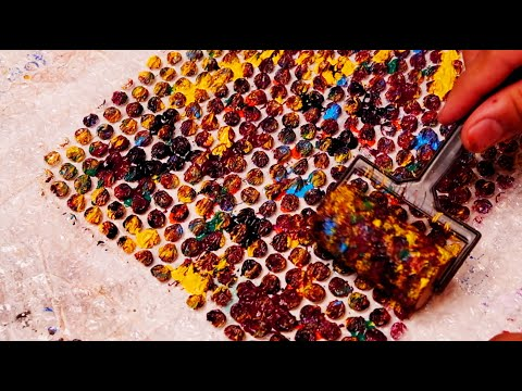 Abstract Painting using bubble wrap