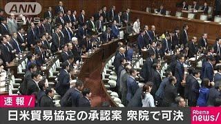 日米貿易協定案が衆院通過 賛成多数で可決(19/11/19)