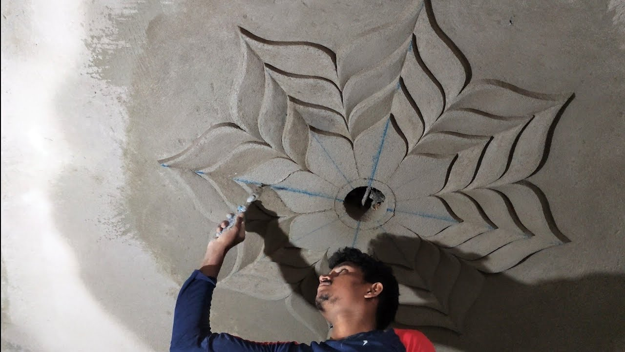 How To Make A Ceiling Flower Ceiling Design Sand Cement Youtube