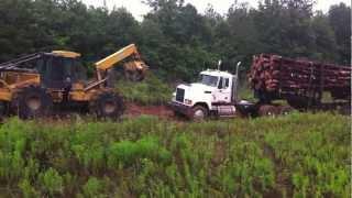 Gambar cover Skidder Dragging a Stuck Log Truck!