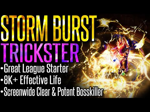 【Path of Exile 3.9 READY】Storm Burst Trickster –Build Guide– Great League Starter | Destroy Endgame!