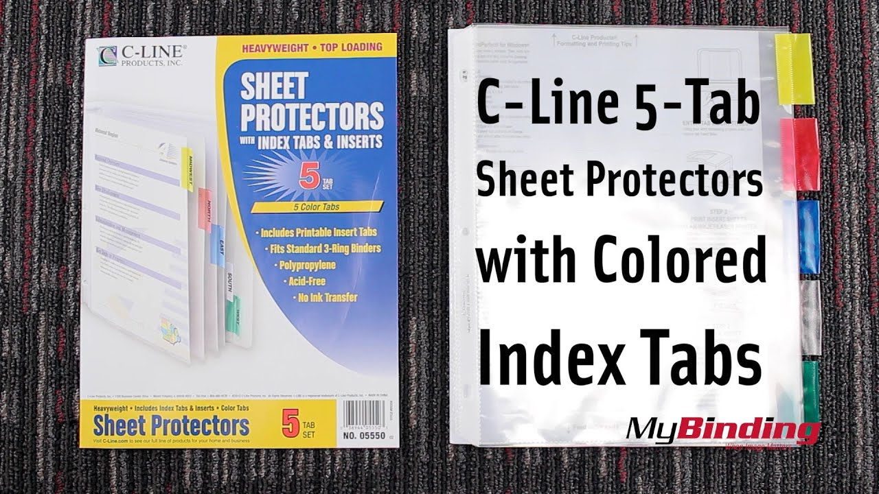 C-Line 5 Tab Sheet Protectors with Colored Index Tabs - YouTube