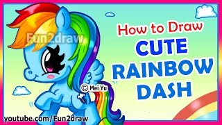 How to Draw Step by Step - Rainbow Dash - CUTE My Little Pony Drawings - Easy Kawaii Art Fun2draw
