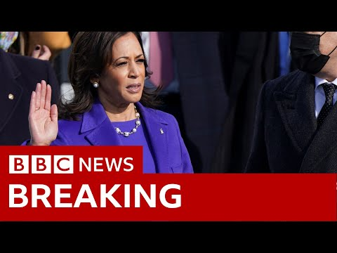 Kamala Harris sworn in as the first female vice-president in US  - BBC News