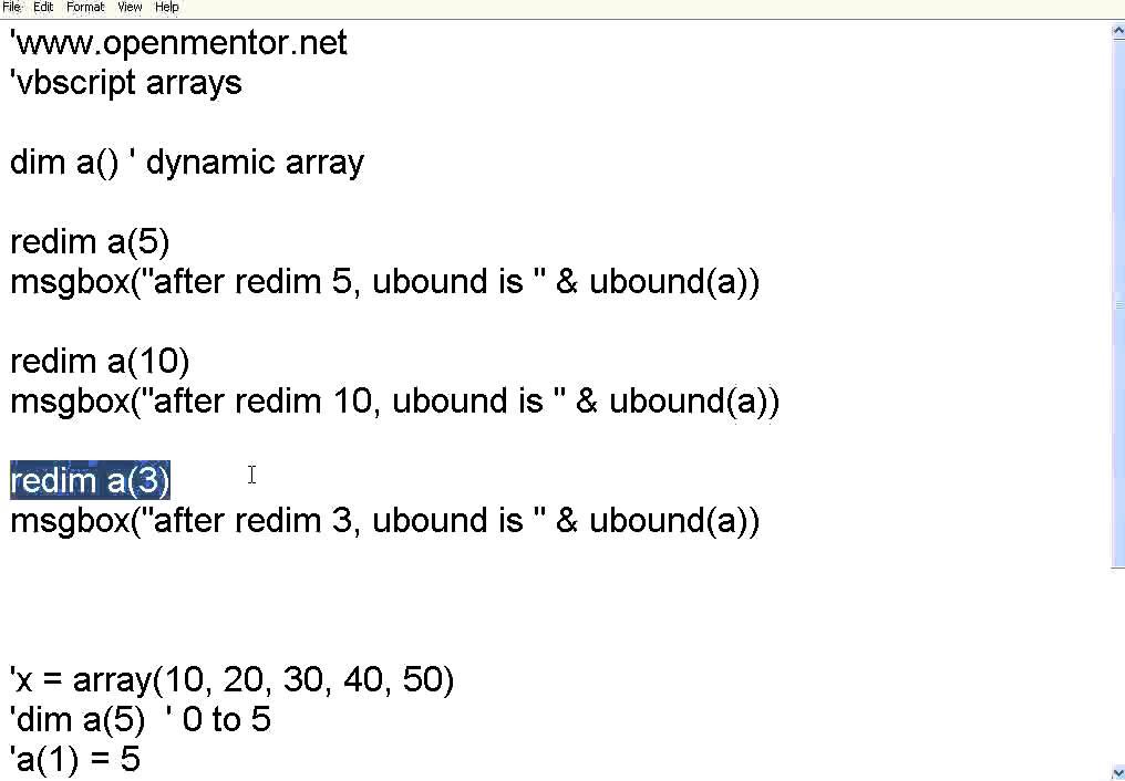 VBScript 7 Arrays