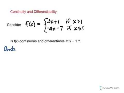 Continuity and Differentiability: Example 1