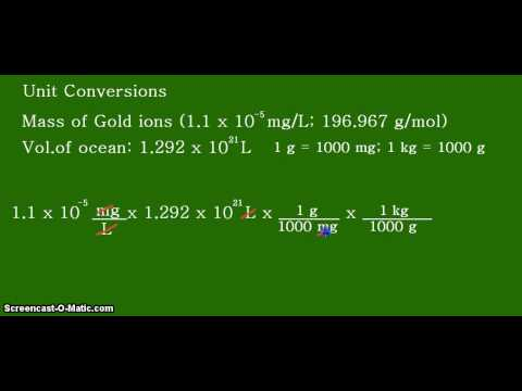 Gold In The Oceans: An Estimation In Kilograms And Metric Tons