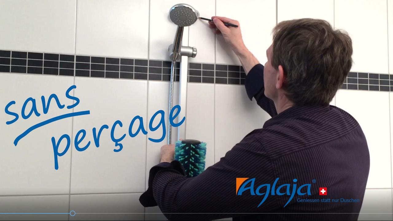 montage sans percer posez le systeme de douche aglaja facilement