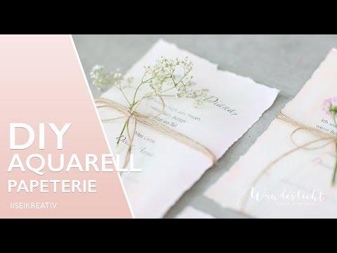 DIY Vintage Aquarell Papier   Anleitung Einladungskarten selber machen